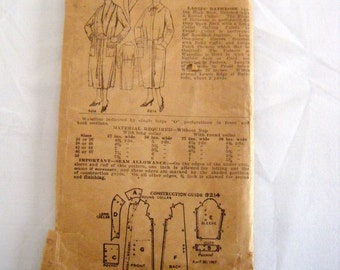 Vintage 1907 sewing pattern bathrobe wrapper pattern Pictorial Review Pattern 9214