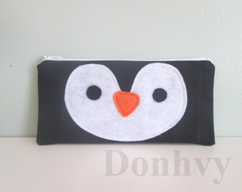 Personalized Penguin Pencil Case. Pencil Case for Kids. Pencil Pouch.