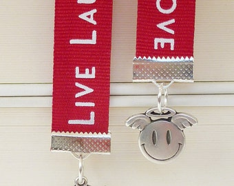 Bookmark Live Laugh Love Angel Devil red