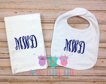 Baby boy monogrammed Burp Cloth Bib set - Baby Boy Personalized Gift Set- Personalized Baby gift