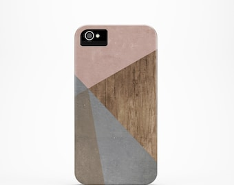 On Sale - iPhone 4 case, Wood iPhone 4s case, Color Block iPhone case, Pink iPhone 4s case, geometric iphone case