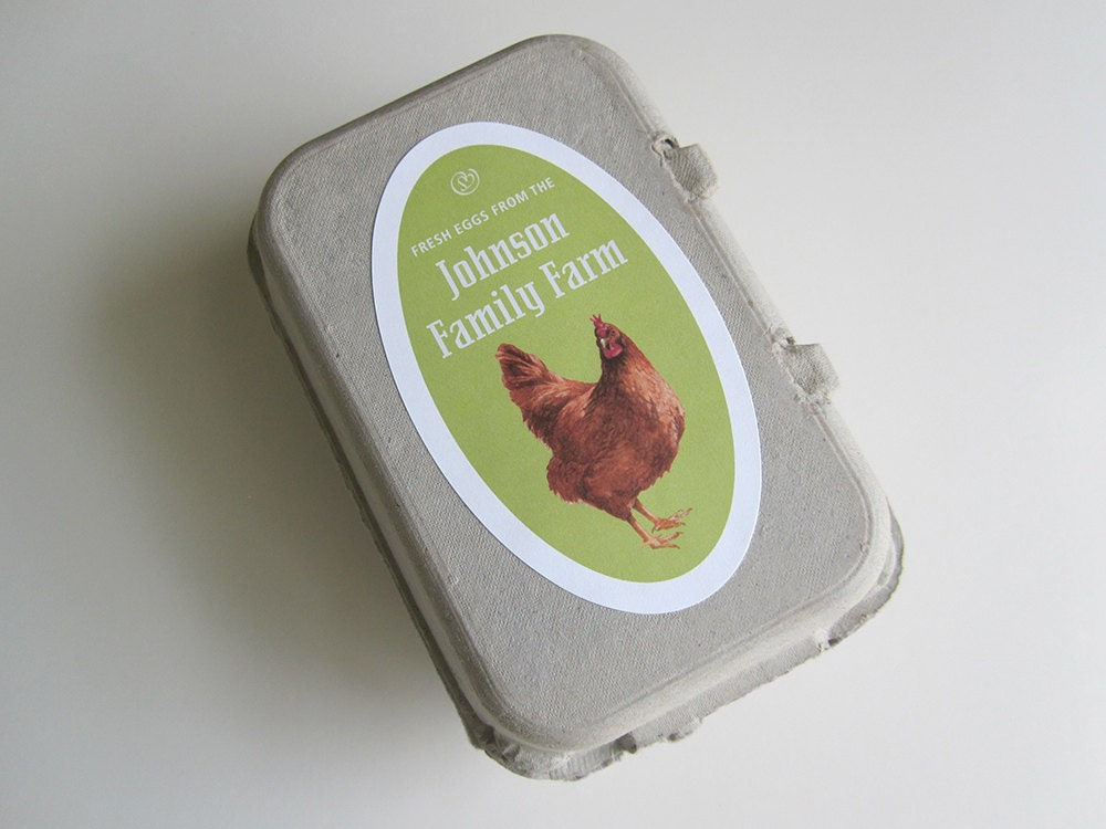 12 egg carton labels personalized chicken egg label egg for Design your own egg boxes