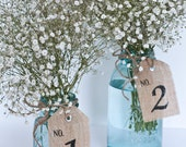 Burlap Table Number Tags 1-10, table number tags, wedding, party