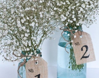 Burlap Table Number Tags, table number tags 1-15, wedding, party