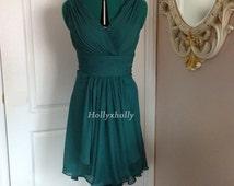Teal Bridesmaid Dress/ Hi-low hem mullet dress / Teal dress
