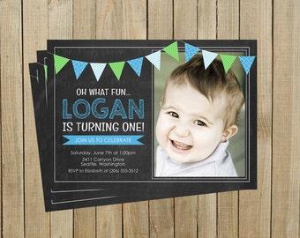 Chalkboard Banner First Birthday Invitation, Blue and Green, Printable, Custom Digital File
