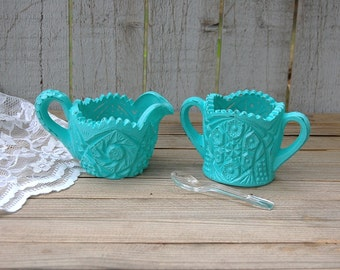 Shabby Chic Sugar Bowl and Creamer, Turquoise, Blue, Hand Painted, Distressed, Pressed Glass