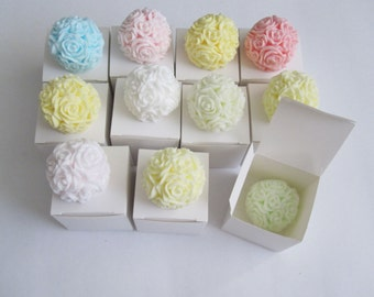 10 Rose Ball Soap Favors - Any occasion - Wedding Birthday Baby Anniversary Party - Handmade Glycerin - Select your color and scent