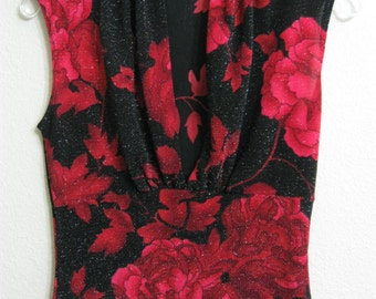 Charlotte Russe Juniors Medium Black with Red Flowers Metallic Top/Blouse