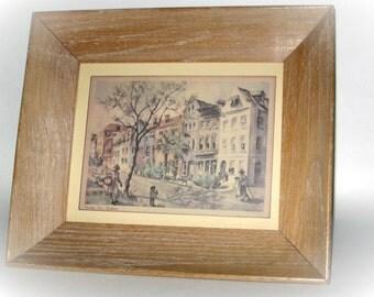 "Rainbow Row - Charleston 6"" x 8 1/2"" Print in 11 1/2"" x 13 1/2"" Vintage Frame"