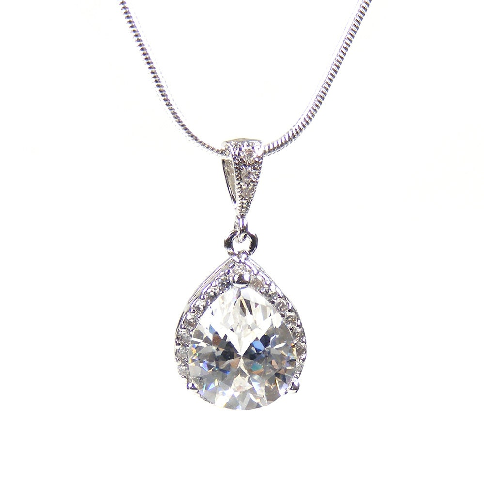 Crystal Bridal Pendant, Silver Faceted Crystal Teardrop Pendant, Bridesmaid Gifts, Wedding Necklace, Prom Necklace