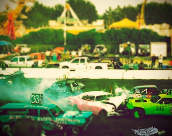 Beach Boardwalk, Carnival, County Fair, Demolition Derby, California, Summer, Vintage Style Art, Photo, Kristine Cramer  Photography