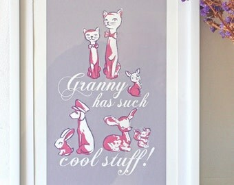 Granny Has Such Cool Stuff! - limited edition hand made art screen print wall art with a shabby chic vintage retro feel