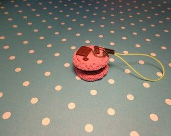 Polymer clay Pink Macaron Phone charm