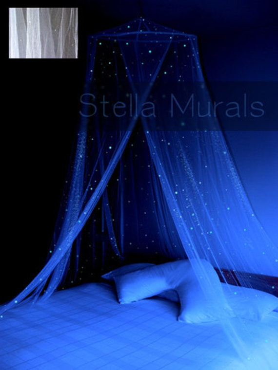 Glow in the Dark Stella Star Canopy - WHITE - surround your bed with stars!