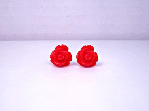 Red Rose Earrings Red Rose Earrings Red Stud