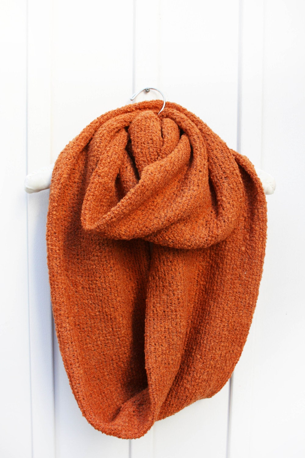 Knitted Scarf Oversized Burnt Orange Circle Scarf
