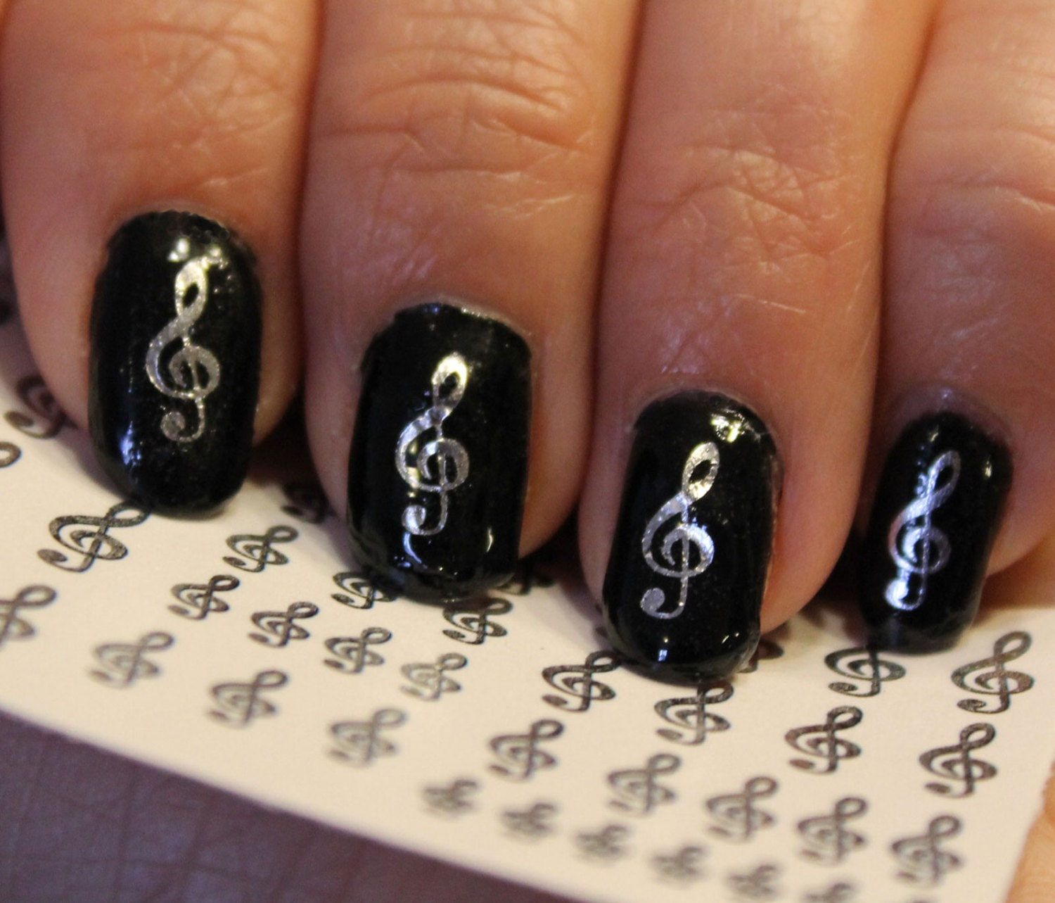 🔎zoom - 42 Silver TREBLE CLEF Music Note Nail Art GCS G Clef Rocker
