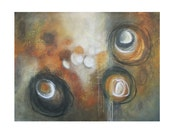 large abstract painting original art earthy modern geometric circles brown gray rust black acrylic Leah Fitts