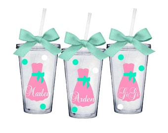 8 Bride and Bridesmaid Classic Acrylic Tumblers - 16 oz Wedding Party Acrylic Tumblers - Set of 8 - Choose Your Dress Style