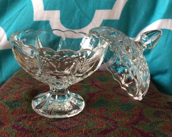 Vintage Crystal Cut Tall Candy Dish -- Vintage Crystal Candle