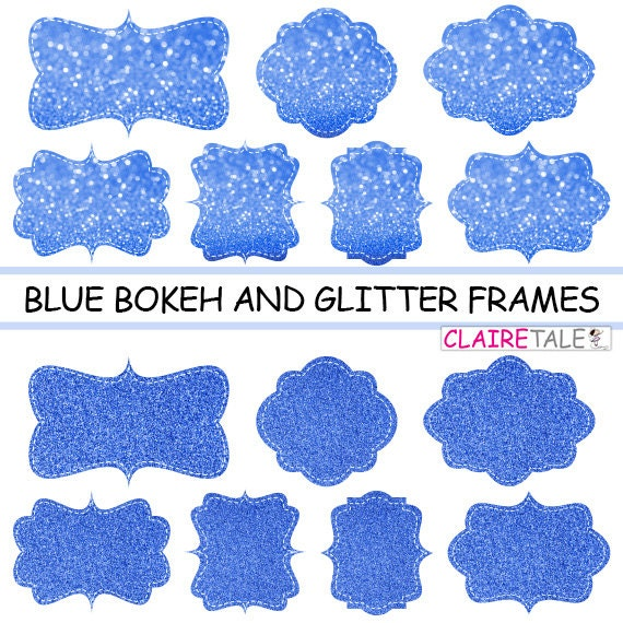 "Digital clipart labels: ""BLUE BOKEH & GLITTER frames"" bokeh and glitter clipart frames, labels, tags on blue background"