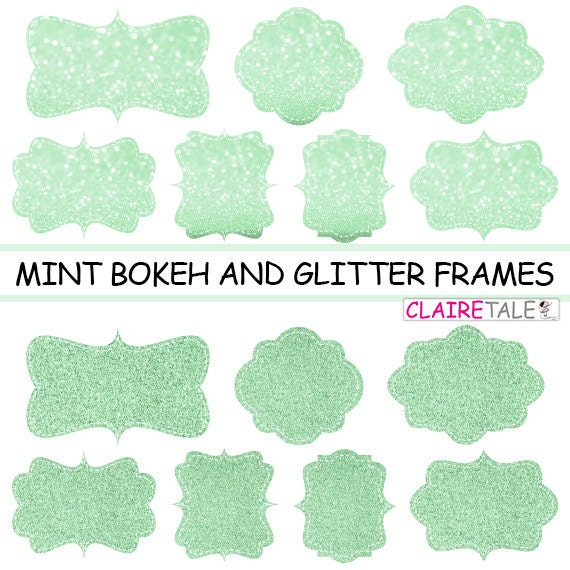 "Digital clipart labels: ""MINT BOKEH & GLITTER frames"" bokeh and glitter clipart frames, labels, tags on mint background"