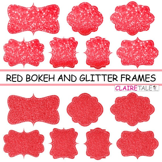 "Digital clipart labels: ""RED  BOKEH & GLITTER frames"" bokeh and glitter clipart frames, labels, tags on red background"