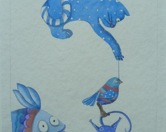 The cat and his friends. Watercolor illustration. SCONTO EURO 5 !!
