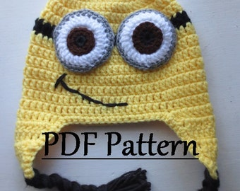 CROCHET PATTERN Minion Hat, Minion Hat Crochet Pattern, Minion Hat Pattern, Crochet Hat Pattern, Crochet Pattern for Minion Hat, Hat Pattern