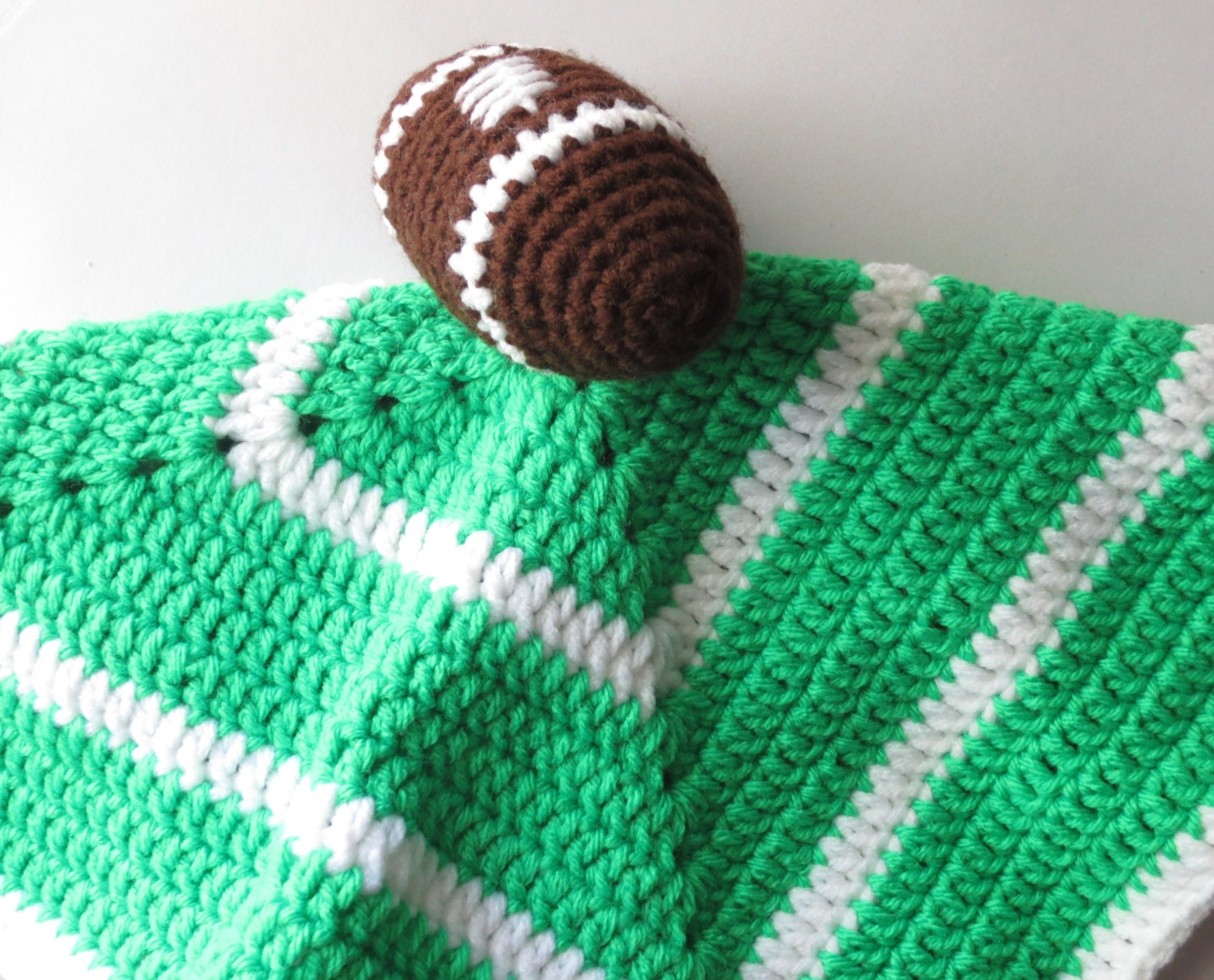 Knitting Pattern For Lovey Blanket : Football Security Blanket Crochet Security by ...
