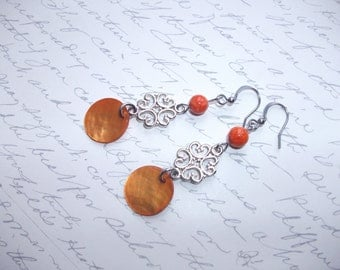 Orange mother of pearl dangling earrings