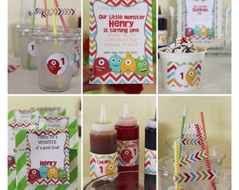 INSTANT DOWNLOAD, Little Monster  Birthday Printable Party Package Set, You Edit Yourself in Adobe Reader