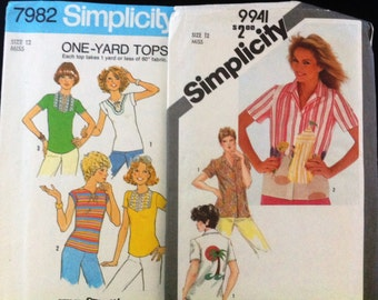 Size 12 Simplicity 7982 & 9941 Womens Miss Young Ladies SUMMER Tops BLOUSES Shirts Patterns