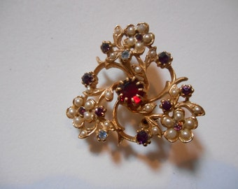 Floral Seed Pearl Brooch with Red Rhinestone Center  Accented in Blue and Red Rhinestones