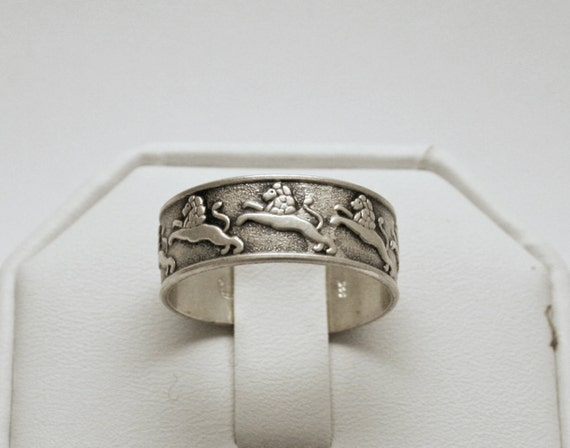 Sterling Silver AVON Lion Thumb Ring Open Band Size 9.25 – 10.5