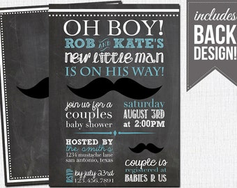 couples mustache baby shower invitation, chalkboard, baby boy,  custom, printable