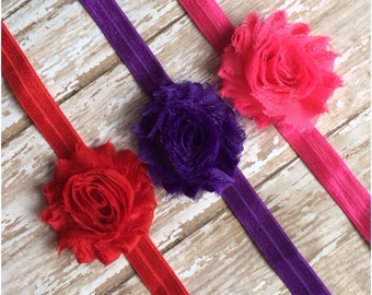 SALE Shabby Chic Flower Headbands, Red Pink & Purple Headbands, Baby Headbands, Toddler Headbands, Girls Headbands, Baby Showerr Gift Set