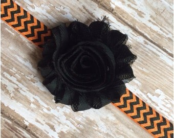 Black and Orange Shabby Chic Chevron Headband, Halloween Headband, Baby Headband, Toddler Headband, Girls Headband, Adult Headband, Bow