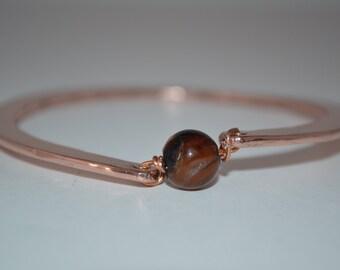 Stone Copper Jewelry, Copper Bracelet, Hammered Bangle, Bead Bangle, Textured Bracelet , Stone bead, Copper Jewelry