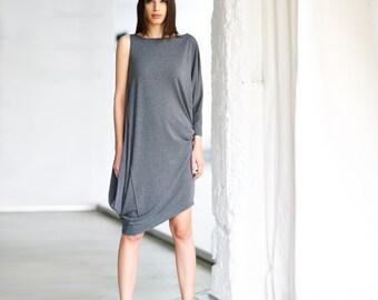 Asymmetrical Dress/ Gray Tunic Top/ Loose Casual Gray Top/ Drape Dress/ Tunic Top by Arya Sense/ DASM14NG