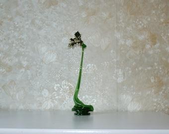 Hand Blown Vase, Green Glassware, Green Bottle,Art Glass