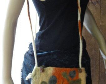 SALE 20% OFF wet felt purse, small felt purse,crossbody felt bag, felt messenger bag, felt floral bag,original fiber art ,OOAK felt