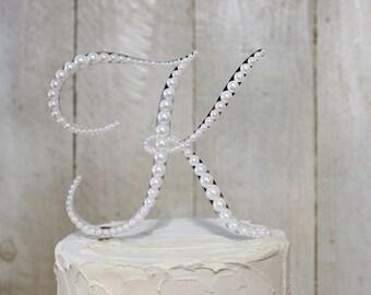 Pearl Monogram Wedding Cake Topper, Vintage style Cake Topper, Pearl Monogram Letter A B C D E F G H I J K L M N O P Q R S T U V W X Y Z