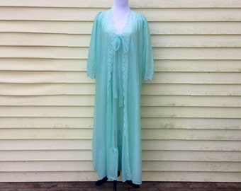 Vintage 1950s Graziella Mint Green Chiffon Peignoir Set
