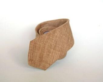 Men's Necktie -  Brown Linen Cotton SKINNY or SLIM Tie