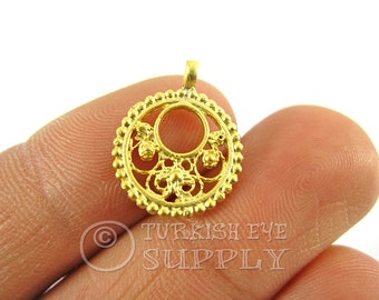 10 pc Mini Filigree Round Charms, Matte 22K Gold Plated Brass Turkish Jewelry