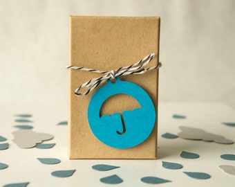 Round Tag with Umbrella Cut Out- Gift Tag- Party favor tags (30 tags)