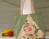 Green and Floral Lined Farmers Market Tote with Leather Embellishments