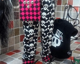blythe clothes, Pants punk skull